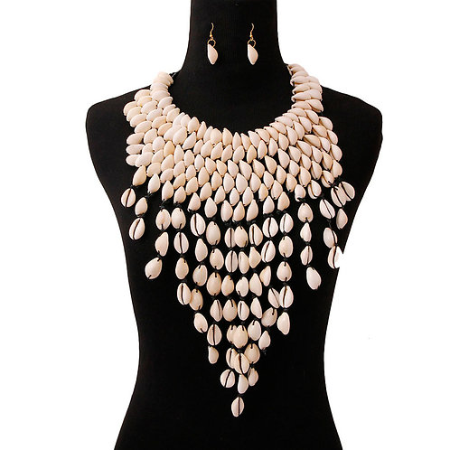 Cowrie Shell Bib Fringe Necklace Set