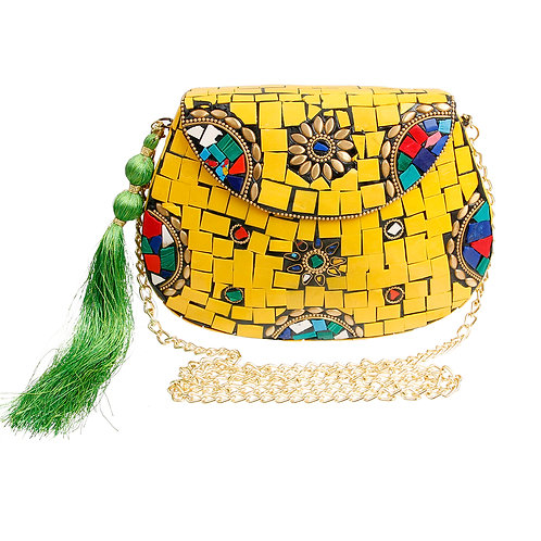 Brass Hard Case Clutch with Yellow Mosaic Detail and Tassel.