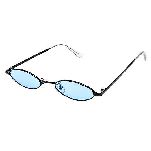 Retro Slender Oval Mod Black and Blue Sunglasses