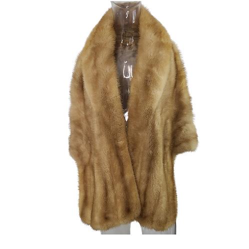 Vintage 60's Honey Blonde Mink Fur Shoulder Wrap Caplet Stole