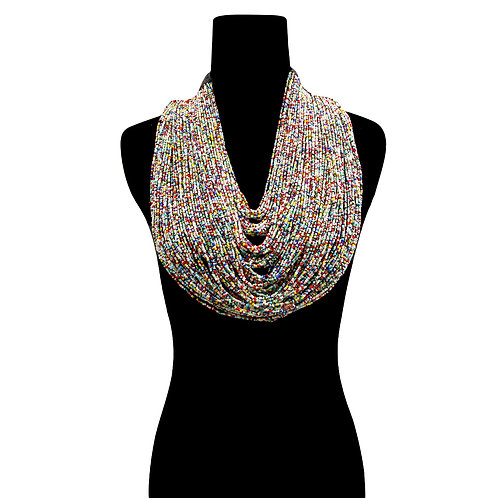 Light Multi Color Long Layered Seed Bead Necklace with Toggle Closure.