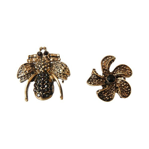 Textured Burnished Gold Metal Bee Brooch and Flower Brooch Set