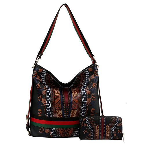 Black Dashiki Print Vegan Leather Convertible Shoulder Bag/Backpack