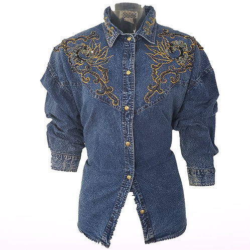 Vintage Denim with Embellished Shoulders