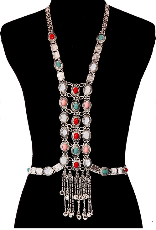 Silver Multi Color Turquoise Long Body Chain