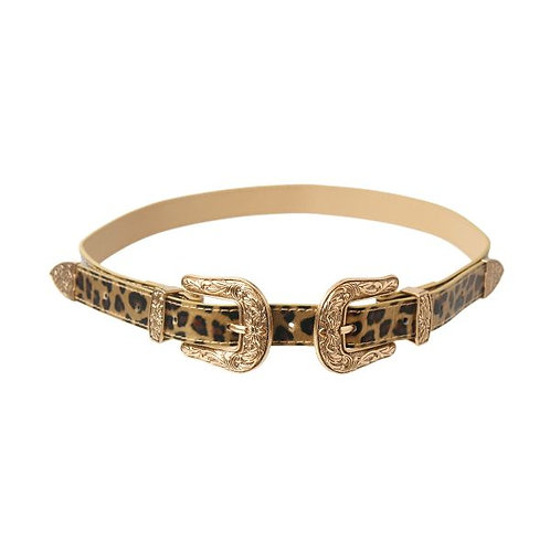 Leopard Shiny Vegan Leather and Burnished Gold Metal Double Buckle Belt