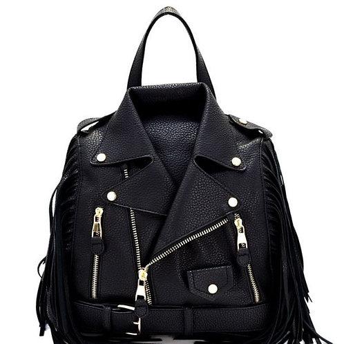 Black Vegan Leather Moto Jacket Backpack