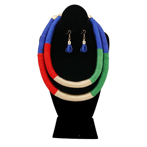 Royal Blue, Red, and Green Tribal Thread Wrapped Double Necklace Set