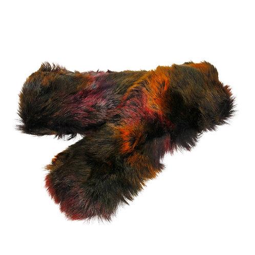Multi Color Faux Fur Scarf w/Pull through design