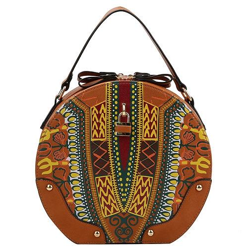 Brown Dashiki Print Vegan Leather Round Handbag with Mini Lock Detail.