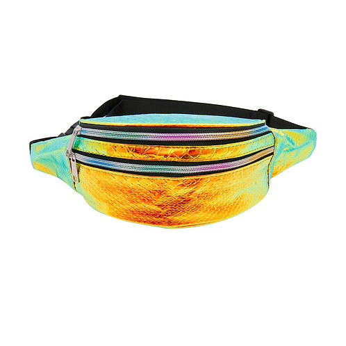 Orange Hologram Vegan Patent Leather Fanny Pack with Rainbow Zipper