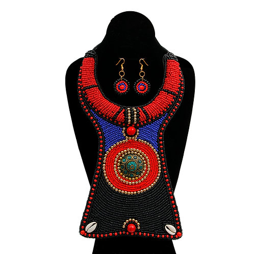Black, Blue, and Red Bead Raised Collar Long Bib Necklace Set with Cowrie Shell
