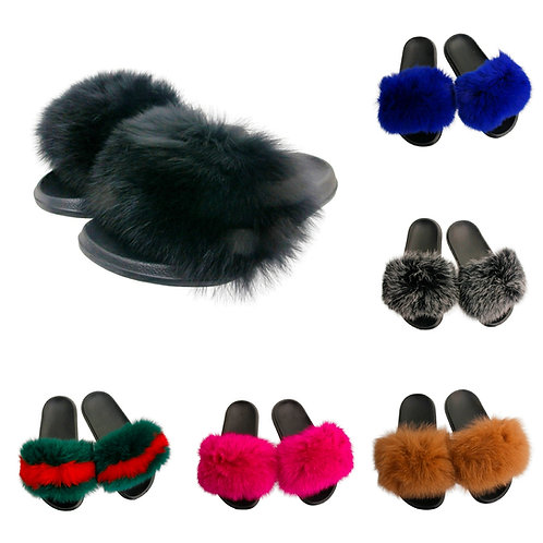 Authentic Dyed Fox Fur Slides