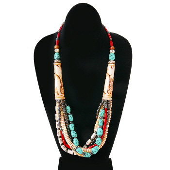 Elephant Carved Horn Layered Bead Necklace