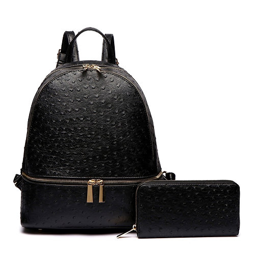 Black Vegan Ostrich Leather Backpack/Handbag and Wallet Set.