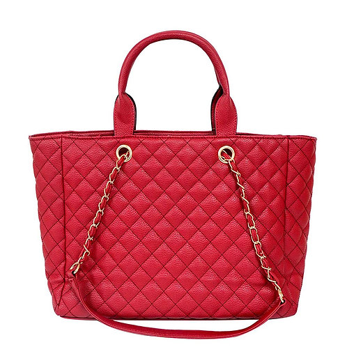 Red Vegan Leather Quilted Tote Handbag Set