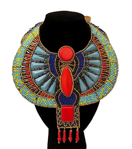Multi Color Hancrafted Bead Egyptian Bib Necklace