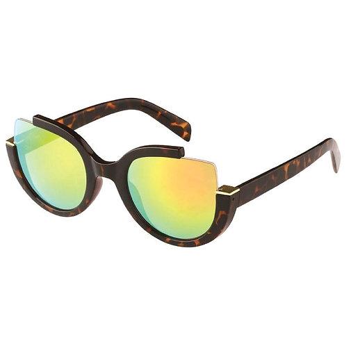 Tortoiseshell Cut Out Corner Frame Cat Eye Sunglasses