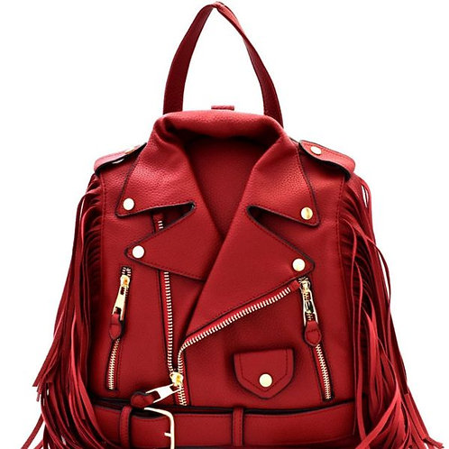 Red Vegan Leather Moto Jacket Backpack