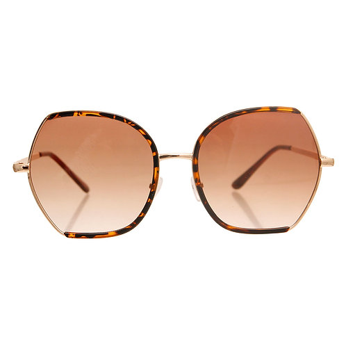Gold and Tortoiseshell Trim Metal Sunglasses