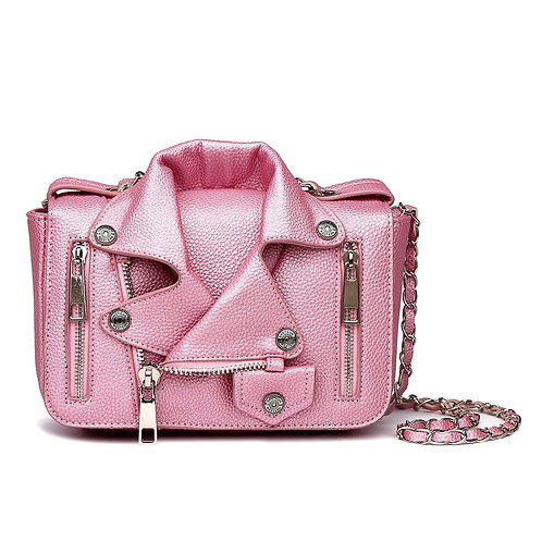 Pink Leather Moto Jacket Crossbody