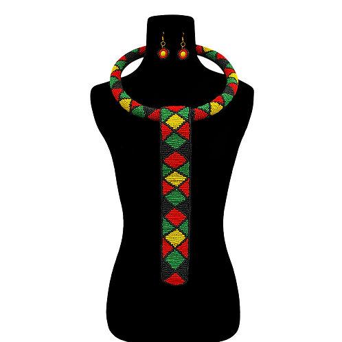 South African Ndebele & Zulu Beaded Collar Ring Neckpiece / Tribal Necktie Set