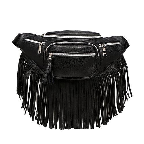 Black Vegan Leather Fanny Pack with Long Fringe Detail