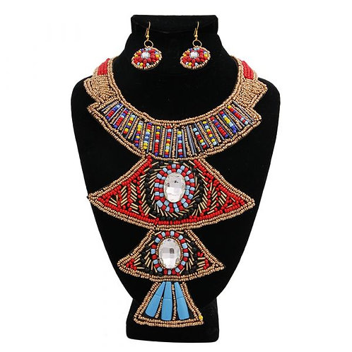 Multi Color Bead and Clear Crystal Tribal Bib Style Necklace