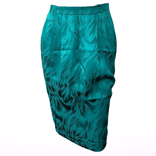 Vintage Silk Turquoise Pencil Skirt