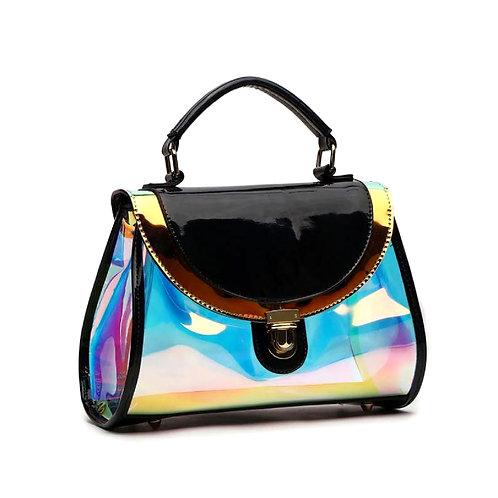 Black Hologram Glossy Patent Leather Flap Handbag