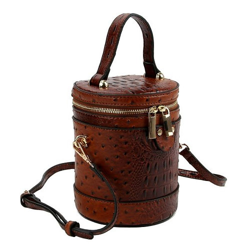 Brown Vegan Ostrich Leather Cylonder Barrel Crossbody