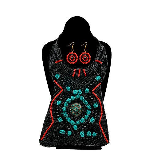 Black and Turquoise Bead Raised Collar Long Bib Necklace Set