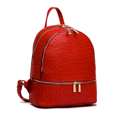 Red Vegan Ostrich Leather Backpack/Handbag and Wallet Set.
