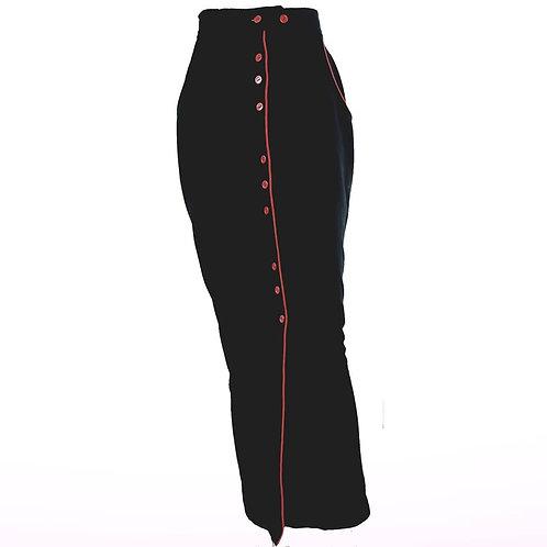 Vintage Black & Red Pencil Skirt