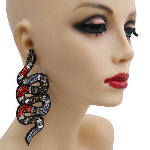 Multi Color Rhinestone Snake Drop Earrings