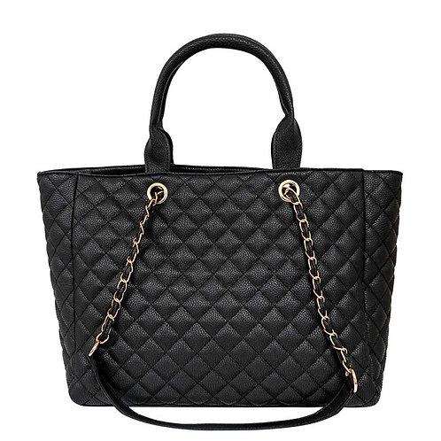 Black Vegan Leather Quilted Tote Handbag Set