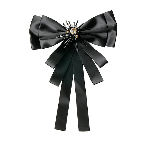 Shiny Black Bowtie Brooch