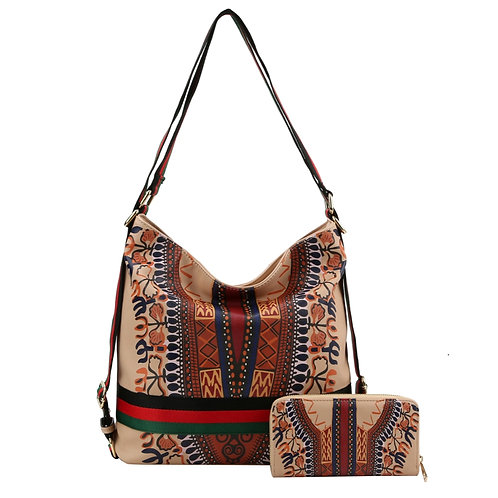 Cream Dashiki Print Vegan Leather Convertible Shoulder Bag/Backpack with Stripe