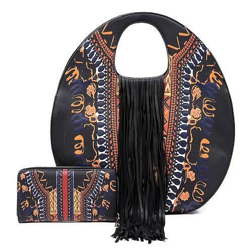 Black Dashiki Print Vegan Leather Round Top Handle Fringe Designer Handbag and W