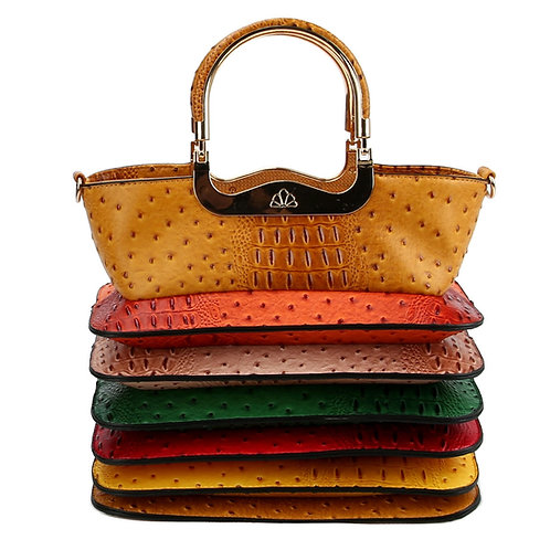 Mustard and Multi Color Ostrich and Crocodile Vegan Leather Accordion Style Bag