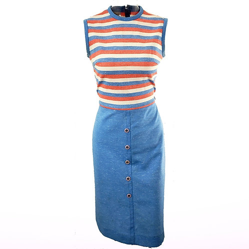 Vintage Peach & Blue Dress