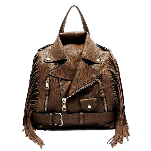 Vegan Leather Moto Jacket Backpack/Handbag