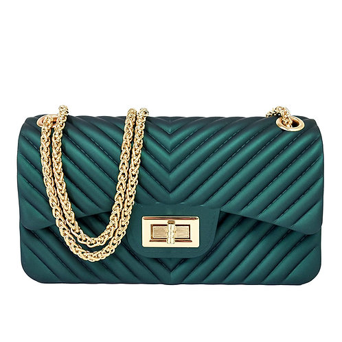 Green Chevron Jelly Handbag
