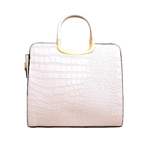 White Vegan Alligator Leather Square Handbag