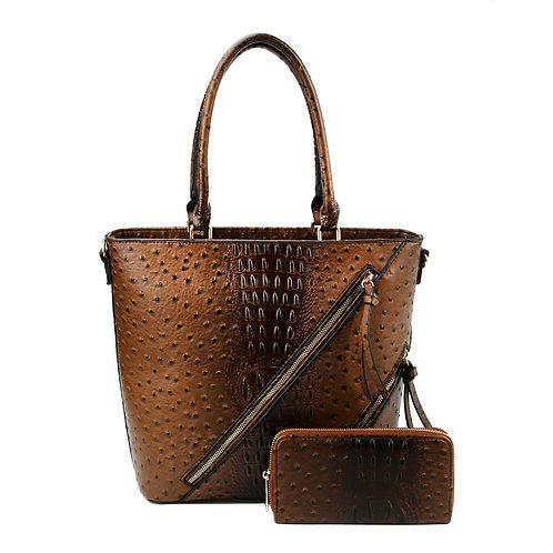 Dark Brown Vegan Ostrich Zipper Tote Bag Set
