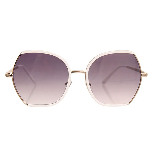 Silver and White Trim Metal Sunglasses Featuring Gradient Lens