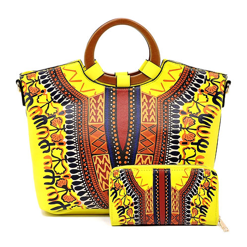 Yellow Dashiki Print Vegan Leather Handbag Tote with Wooden Handle and Wallet