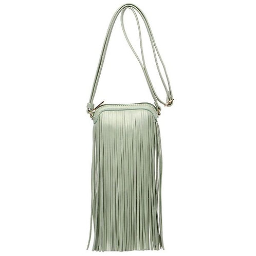 Mint Vegan Leather Crossbody Bag Featuring Fringe Detail.