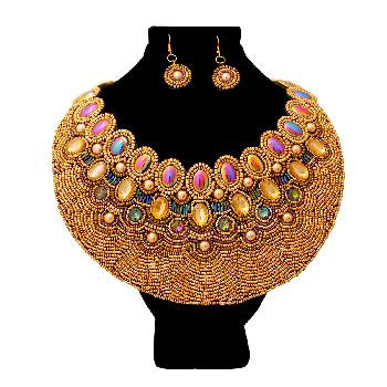 Gold Bead and Crystal Round Bib Necklace Set Featuring Iridescent Beads