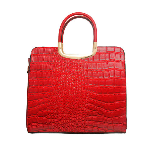 Red Vegan Alligator Leather Square Handbag